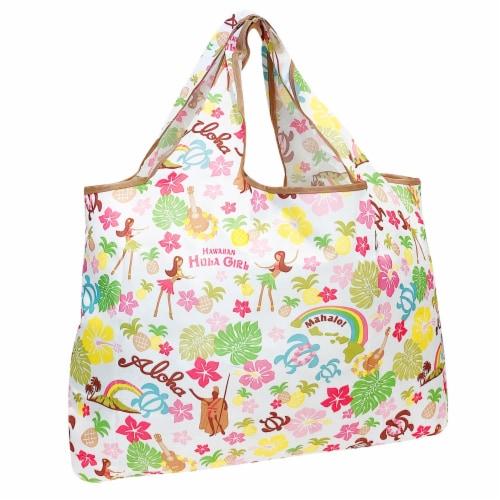 Wrapables Large Nylon Reusable Shopping Bag, Hawaiian Fun Perspective: front