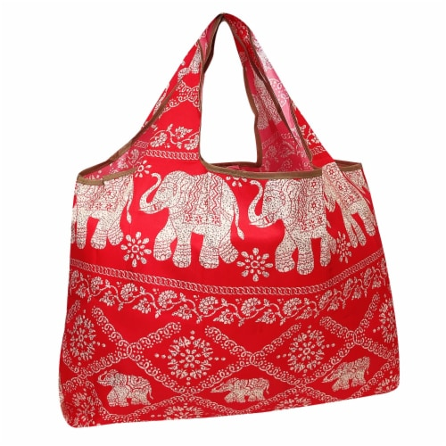 Wrapables Large Nylon Reusable Shopping Bag, Regal Elephants Perspective: front