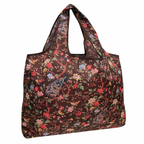 Wrapables Large Nylon Reusable Shopping Bag, Peacocks & Peonies Perspective: front