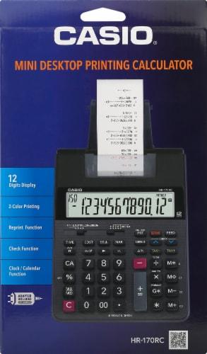 Casio HR-170 Mini Desktop Printing Calculator - Black Perspective: front
