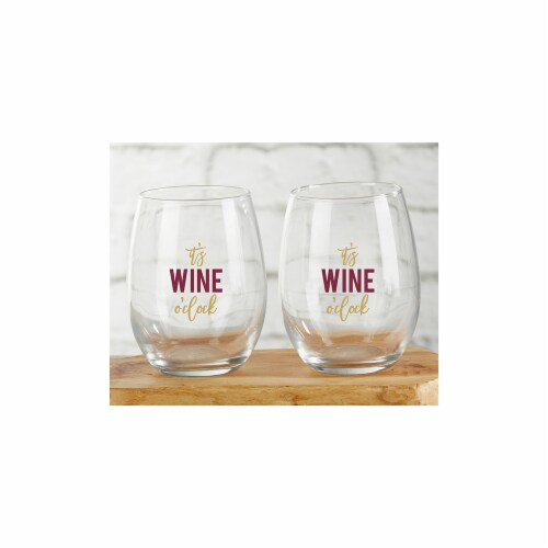 Kate Aspen 30023NA-WOC 15 oz Its Wine OClock Stemless Wine Glass - Set of 4 Perspective: front