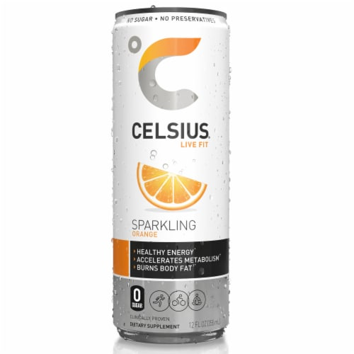 Celsius Sparkling Orange Dietary Supplement Energy Drink Perspective: front