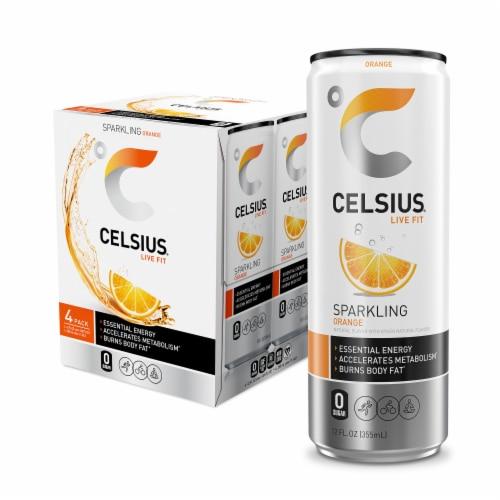 Celsius Orange Sparkling Drink Perspective: front