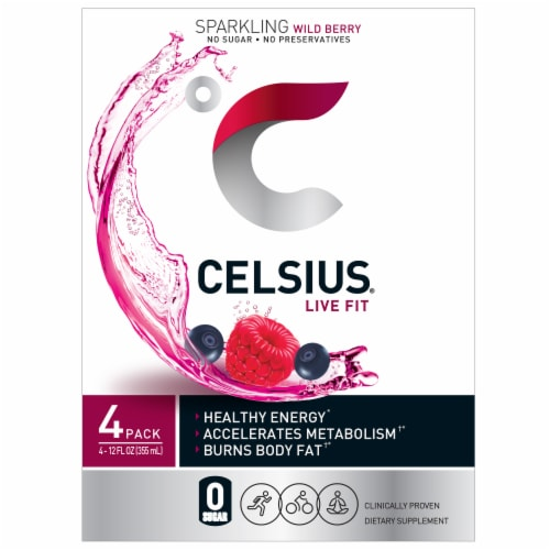 Celsius Sparkling Wild Berry Drink Perspective: front