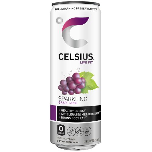 Celsius Sparkling Grape Rush Dietary Supplement Energy Drink Perspective: front