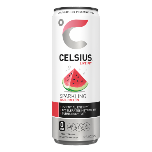 Celsius® Sparkling Watermelon Dietary Supplement Energy Drink Perspective: front