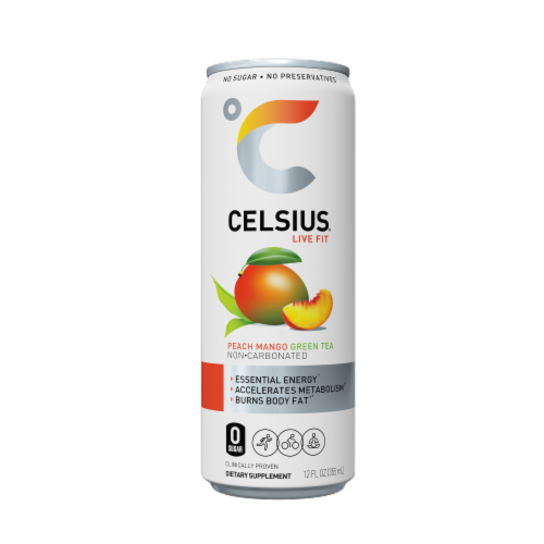 Celsius Peach Mango Green Tea Dietary Supplement Energy Drink Perspective: front