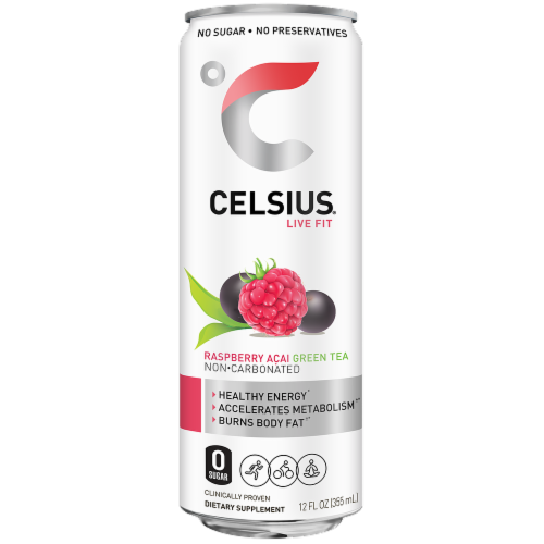 Celsius Raspberry Acai Green Tea Non Carbonated Dietary Supplement Energy Drink Perspective: front