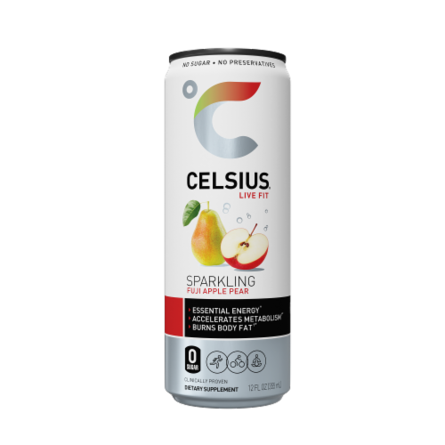 Celsius Sparkling Fuji Apple Pear Dietary Supplement Drink Perspective: front