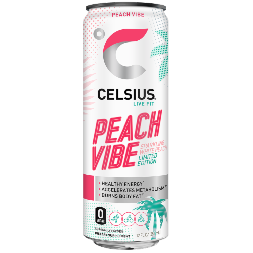 Celsius Limited Edition Sparkling Peach Vibe Dietary Supplement Sports Drink Perspective: front