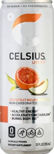 Celsius Grapefruit Melon Green Tea Dietary Supplement Energy Drink Perspective: front