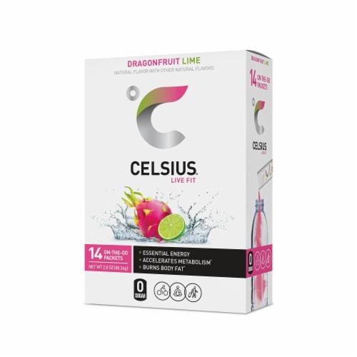 Celsius® Dragonfruit Lime Flavor Stick Packets Perspective: front