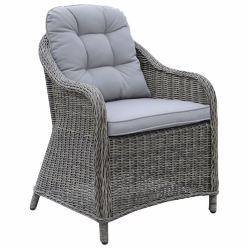 Furniture of America Kender Rattan Patio Dining Arm Chair in Gray (Set of 2) Perspective: front