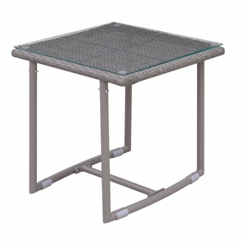 Georgio Modern Glass Top Patio End Table in Gray - Furniture of America Perspective: front