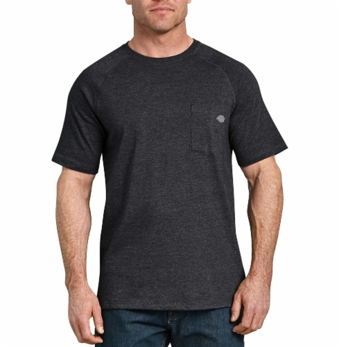 Dickies Mens Temp-iQ™ Performance Cooling T-Shirt - Heather Black Perspective: front