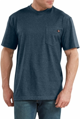 Dickies Men's Short Sleeve Heavyweight T-Shirt - Baltic Blue Heather Perspective: front