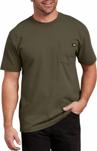 Dickies Men's Short Sleeve Heavyweight T-Shirt - Military Green Perspective: front