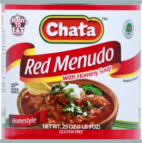 Chata Homestyle Red Menudo with Hominy Soup Perspective: front