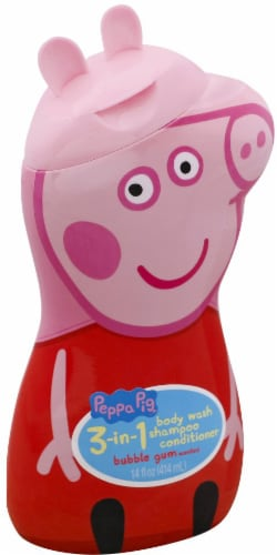 Peppa Peg 3 in 1 Bubble Gum Scented Body Wash Shampoo & Conditioner Perspective: front