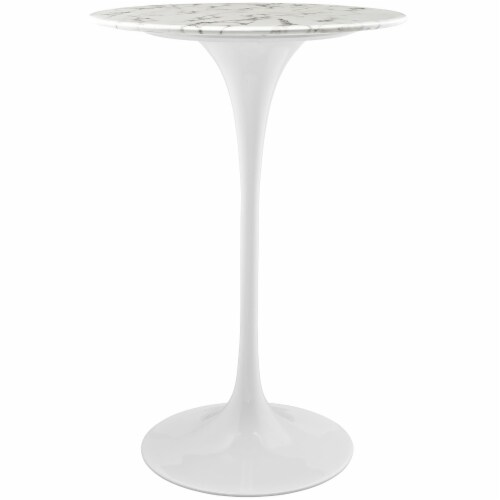 """Lippa 28"""" Round Artificial Marble Bar Table - White Perspective: front"""