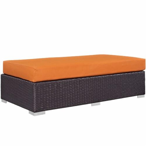 Convene Outdoor Patio Fabric Rectangle Ottoman - Espresso Orange Perspective: front