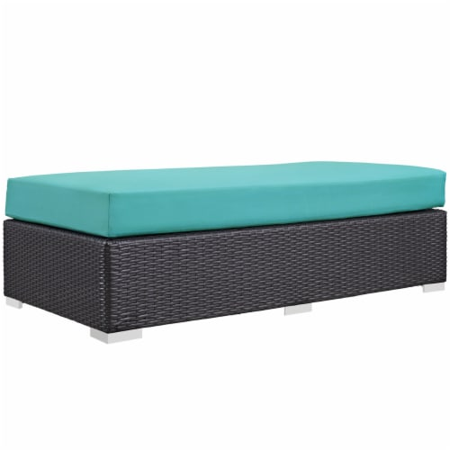Convene Outdoor Patio Fabric Rectangle Ottoman - Espresso Turquoise Perspective: front