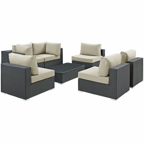 Sojourn 7 Piece Outdoor Patio Sunbrella Sectional Set - Canvas Antique Beige Perspective: front