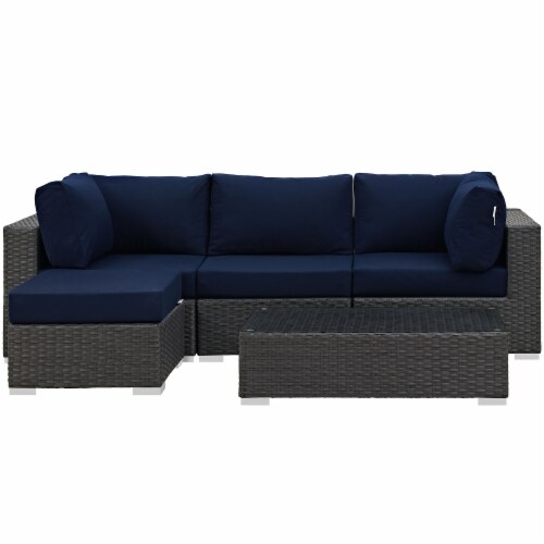Sojourn 5 Piece Outdoor Patio Sunbrella Sectional Set - Canvas Navy Perspective: front