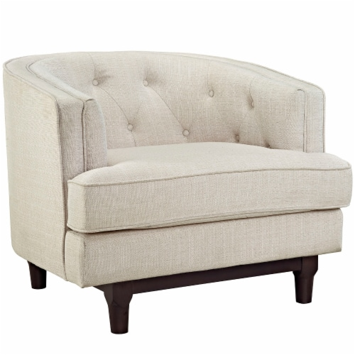 Coast Upholstered Fabric Armchair - Beige Perspective: front