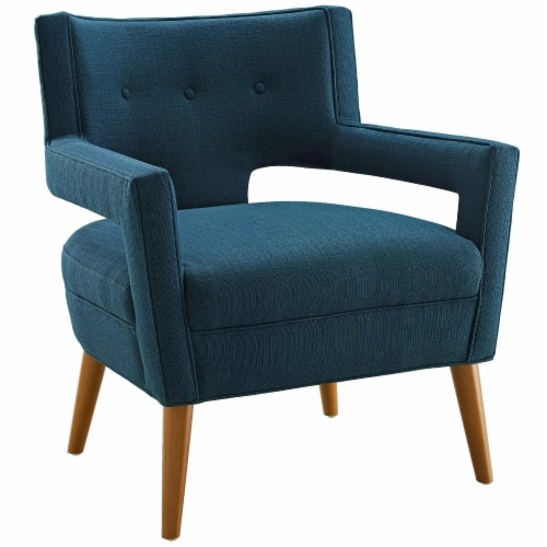 Sheer Upholstered Fabric Armchair - Azure Perspective: front