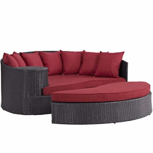 Convene Outdoor Patio Daybed - Espresso Red Perspective: front