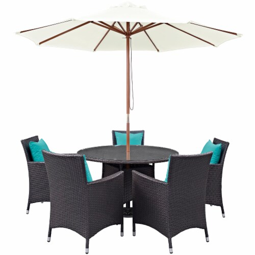 Convene 7 Piece Outdoor Patio Dining Set - Espresso Turquoise Perspective: front