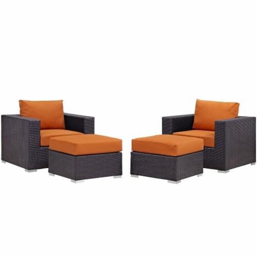 Convene 4 Piece Outdoor Patio Sectional Set - Espresso Orange Perspective: front