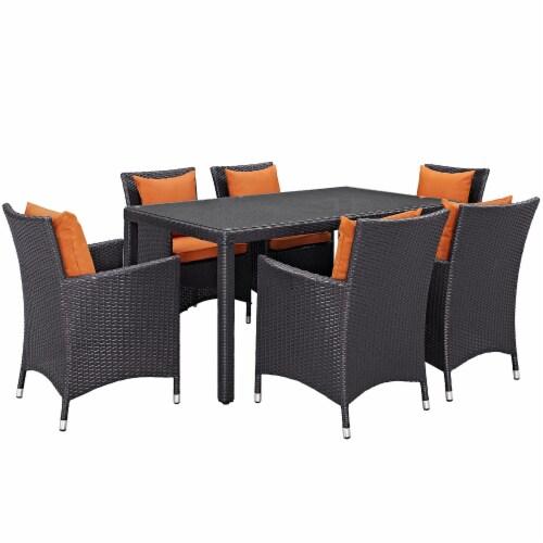 Convene 7 Piece Outdoor Patio Dining Set - Espresso Orange Perspective: front