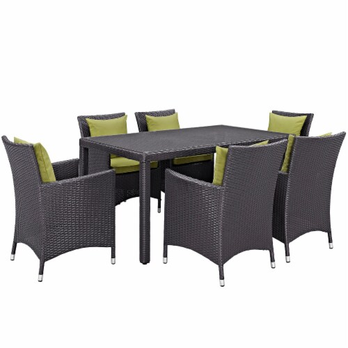 Convene 7 Piece Outdoor Patio Dining Set - Espresso Peridot Perspective: front