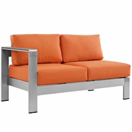 Shore Left-Arm Corner Sectional Outdoor Patio Aluminum Loveseat - Silver Orange Perspective: front