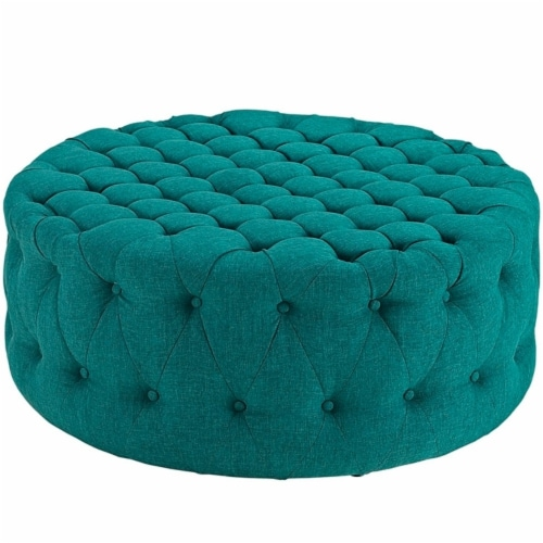 Amour Upholstered Fabric Ottoman, Teal Perspective: front