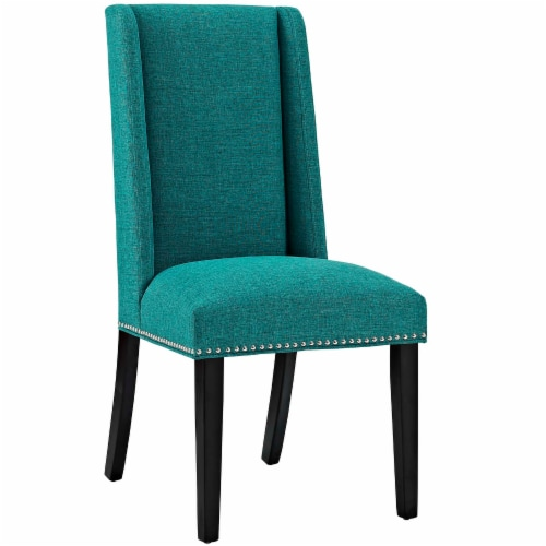 Baron Fabric Dining Chair - Teal Perspective: front