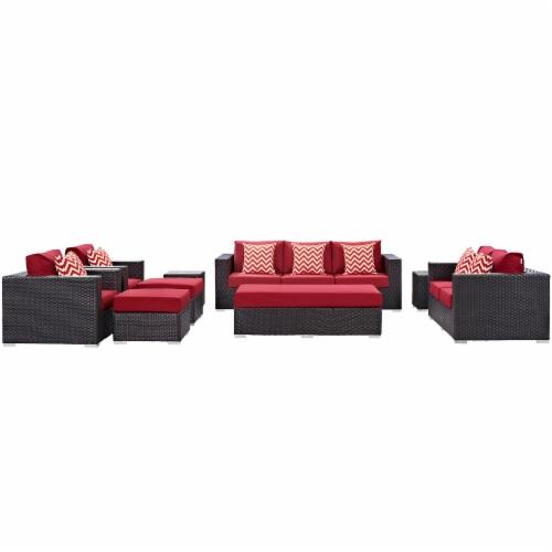 Convene 9 Piece Outdoor Patio Sofa Set - Espresso Red Perspective: front
