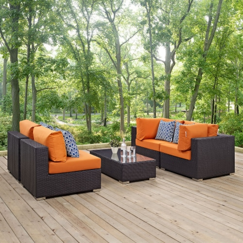Convene 5 Piece Outdoor Patio Sectional Set - Espresso Orange Perspective: front