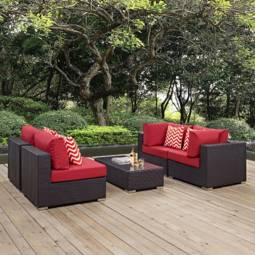 Convene 5 Piece Outdoor Patio Sectional Set - Espresso Red Perspective: front