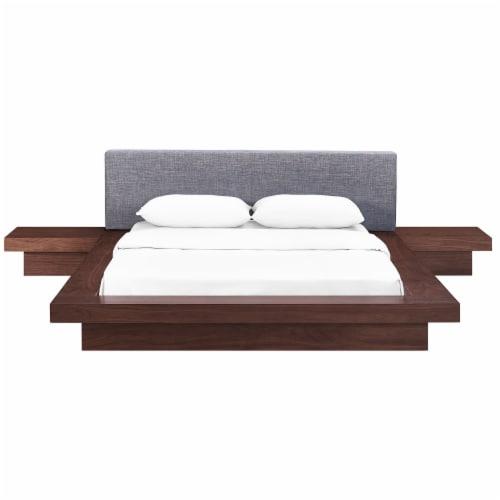 Freja 3 Piece Queen Fabric Bedroom Set - Walnut Gray Perspective: front