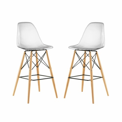 Pyramid Dining Side Bar Stool Set of 2 - Clear Perspective: front