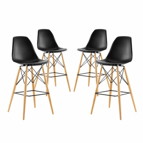 Pyramid Dining Side Bar Stool Set of 4 - Black Perspective: front