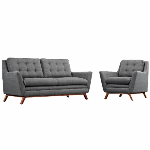 Beguile Living Room Set Upholstered Fabric Set of 2 - Gray Perspective: front