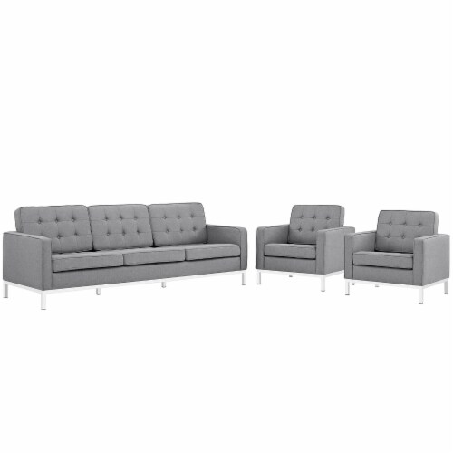 Loft 3 Piece Upholstered Fabric Sofa and Armchair Set - Light Gray Perspective: front