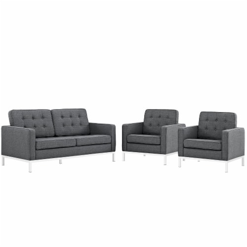 Loft Living Room Set Upholstered Fabric Set of 3 - Gray Perspective: front