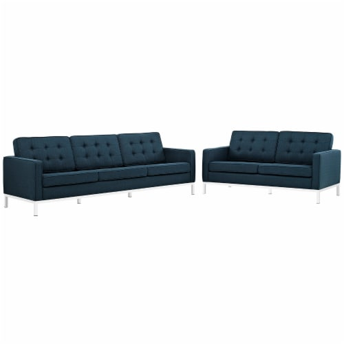 Loft 2 Piece Upholstered Fabric Sofa and Loveseat Set - Azure Perspective: front