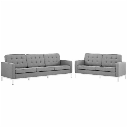 Loft 2 Piece Upholstered Fabric Sofa and Loveseat Set - Light Gray Perspective: front