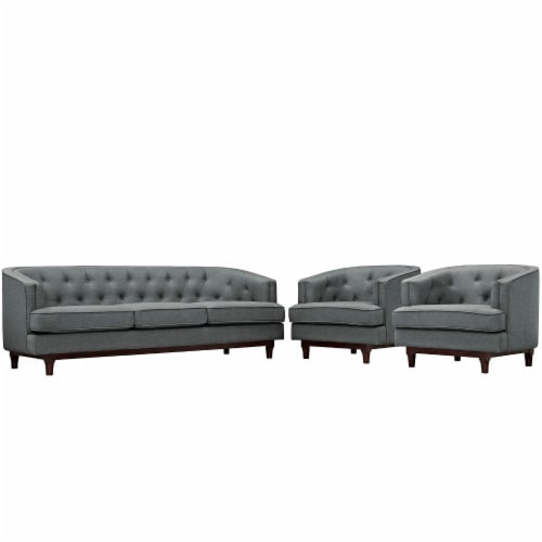 Coast Living Room Set Set of 3 - Gray Perspective: front